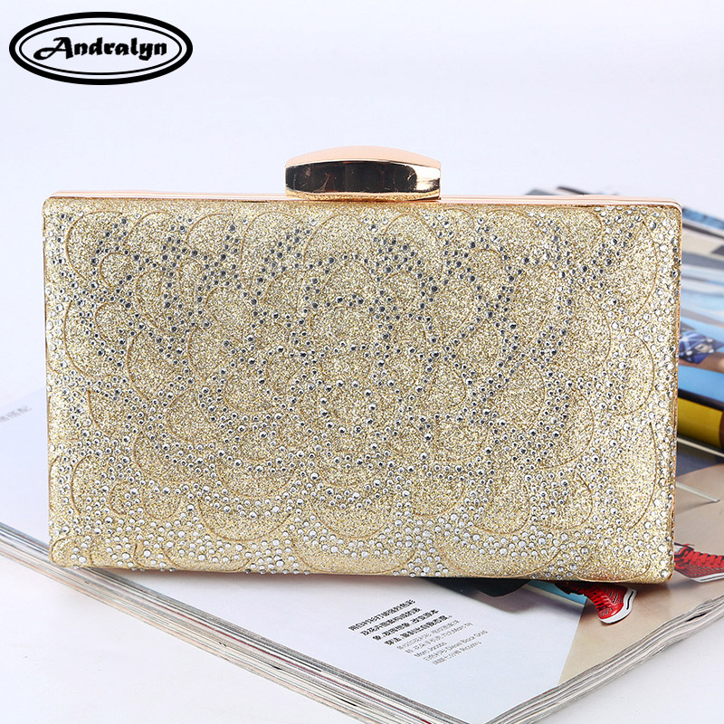 Andralyn Women Elegant Party Bag Fashion Rhinestone Wedding Clutch Evening Bag Ladies Shoulder Bag Lady Diamond Banquet Bag new fashion womens elegant pleated satin rhinestone fashion clutch handbags evening bag