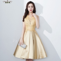 Robe Demoiselle D Honneur Femme 2017 New Lace And Satin ALine Knee Length Gold Bridesmaid Dress