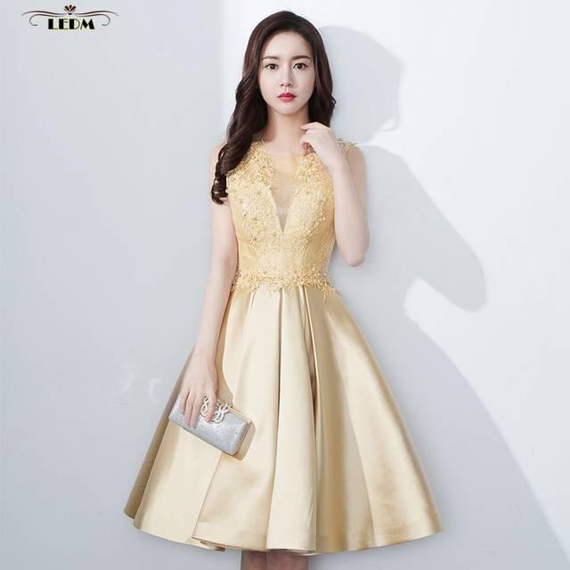 Robe demoiselle d honneur femme 2019 new lace and satin ALine knee length  gold bridesmaid dress ba16edd42b9f