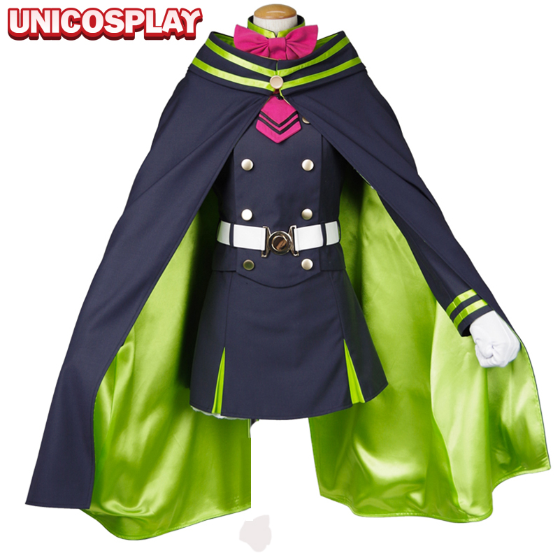 Seraph of the End Shinoa Hiragi Dress Cloak Vampire Cosplay Costume Owari no Serafu Halloween Uniform Outfit For Women