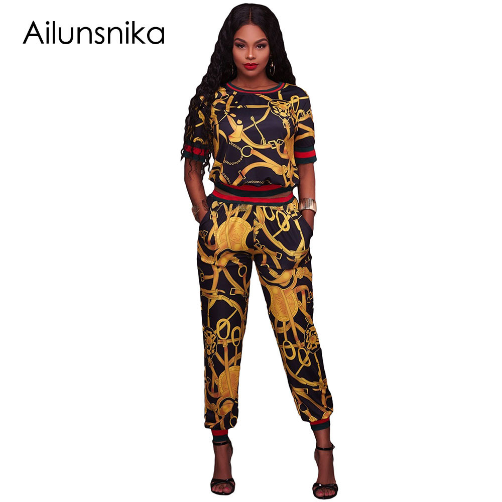 Ailunsnika 2018 Autumn Dashiki Print Rompes Women Two Piece Set African Vintage Bodycon Sexy Jumpsuit Casual Tracksuit DL62071 ...