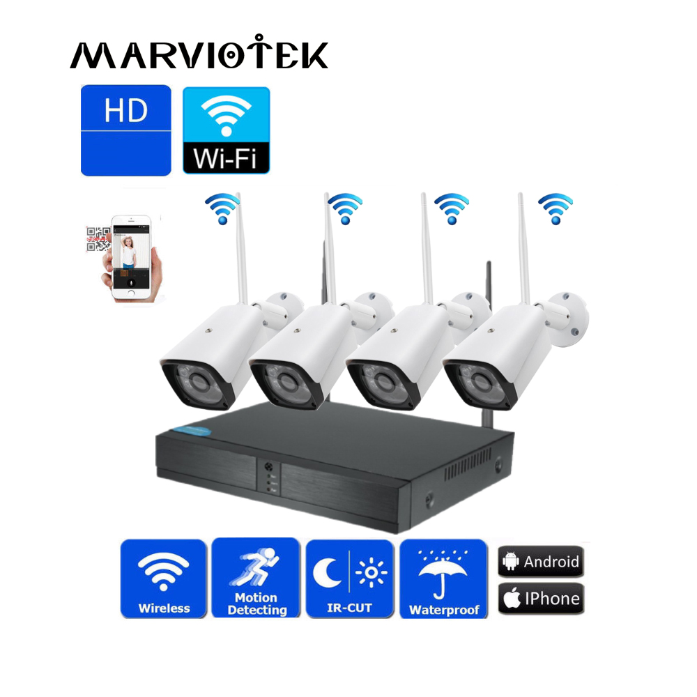 Home Security Wireless 4CH CCTV camera System 720P P2P Outdoor IP Camera Wifi NVR Kit 4 cameras Video Surveillance Set IR ONVIF все цены