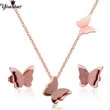 Yiustar Elegant Butterfly Jewelry Sets for Women Necklace/Earings Stainless Steel Stud Earrings Collier Femme Brincos
