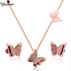 Yiustar Elegant Butterfly Jewelry Sets for Women Necklace/Earings Stainless Steel Stud Earrings Butterfly Collier Femme Brincos(China)