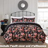 EHOMEBUY Bedding Sets Fashion Black Include 1 Duvet Cover And 2 Pillowcase Home Use Colorful Pastoral
