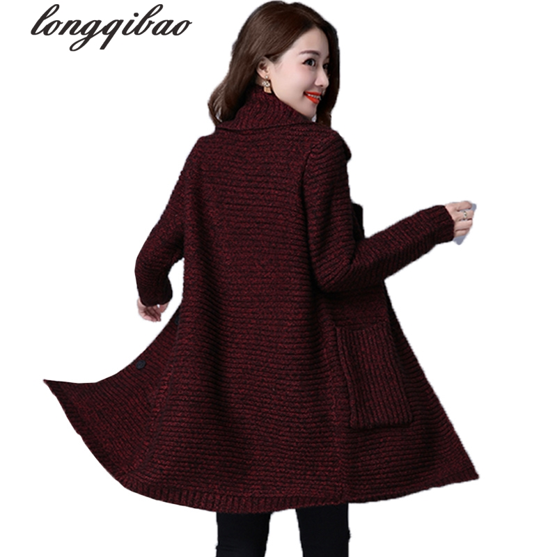 Autumn and winter new knitted sweater cardigan women long section large size jacket Korean loose V neck pocket TB7676