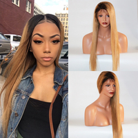Eversilky 1B/27 Honey Blonde Human Hair Wigs Brazilian Straight 360 Lace Frontal Wig for Women Ombre Wig Remy Hair Wig