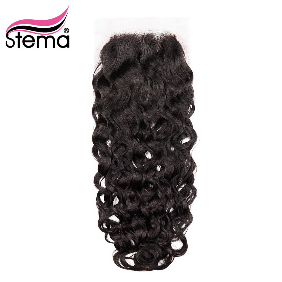Stema Lace Closure Brazilian Natural Wave Human Remy Hair Natural Color 4x4 Free Part with baby
