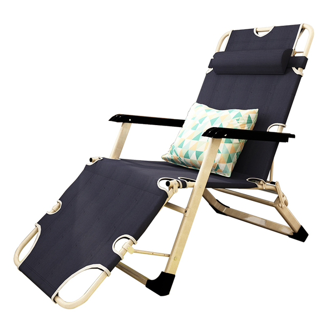 High Quality Portable Foldable Folding Reclining Chair Simple Single Bed Outdoor Balcony Lounge Leisure Mesh