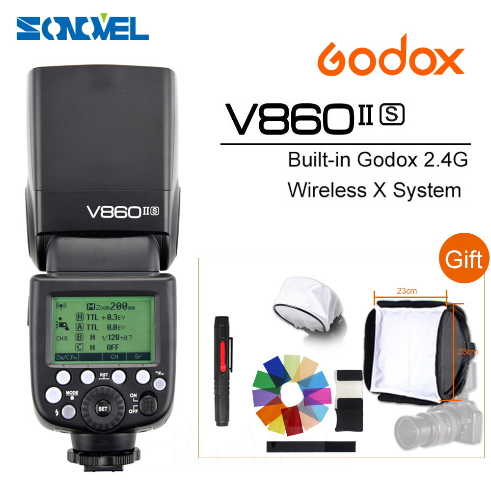 Godox Ving V860II V860II-S E-TTL HSS 1/8000 Li-ion Battery Speedlite Flash for Sony DSLR A7R A7RII A58 A99 A6000 DSLR MI Shoe godox ving 2x v860n v860 i ttl hss master li ion flash speedlite ft 16s trigger speedlite 1 8000s for nikon d800 d90 d600 d7000