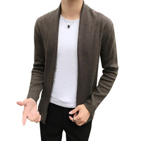 Autumn and winter knit cardigan men's Korean version of the self cultivation lapel youth trend sweater casual windbreaker jacket