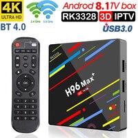 H96 MAX Plus Android 8,1 4G 32G 64G Set Top cajas 4 K Ultra HD H.265 inteligente caja de TV USB 3,0 Dual Wifi 2,4/5,0G reproduct