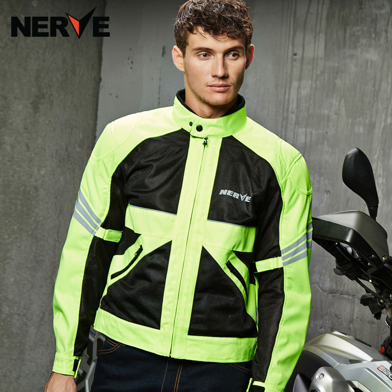NERVE NEW Summer motorcycle clothe   Breathable men drop riding suit  Motocross Racing Reflective Safety Coat Sportswear green  brand nerve motorcycle riding breathable raincoat and pants for men and women free shipping summer waterproof suit rain coat