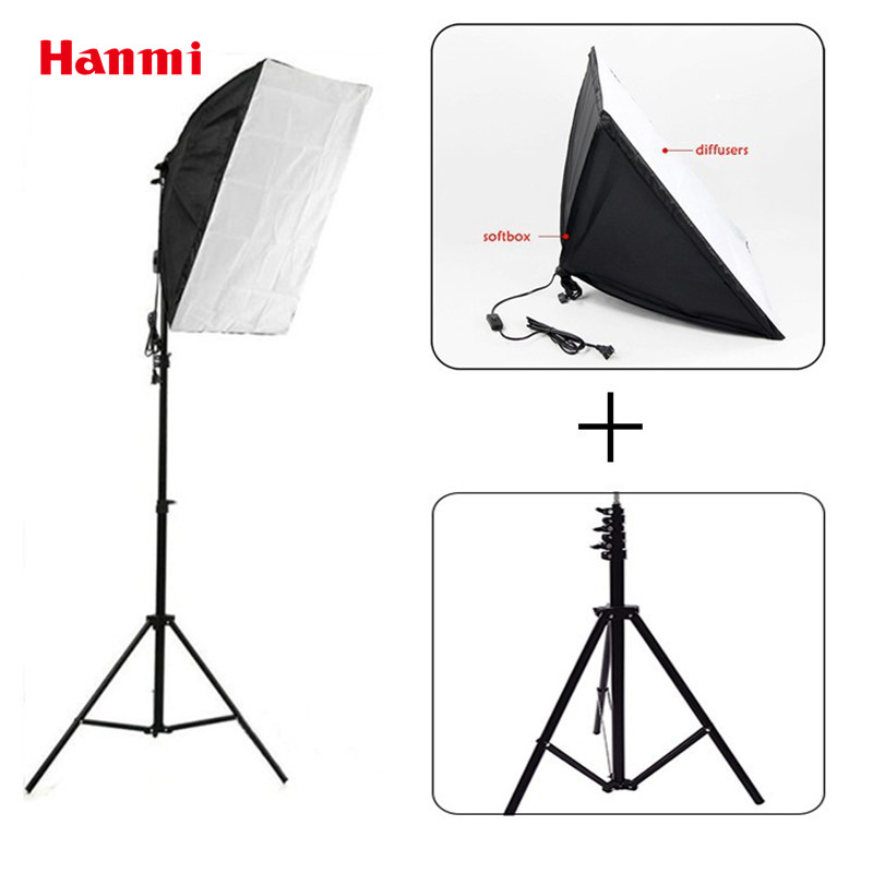 Free shipping + Photography Lighting Kit 2.6m Light Stand +50*70cm Softbox For Photography Studio Accessories softbox studio lighting softbox light lambed 80cm cotans round cotans photographic equipment 4 flock printing background cd50