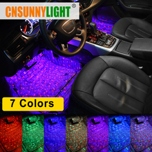 CNSUNNYLIGHT Car Interior Foot Light USB LED Atmosphere Ambient Starry DJ Mixed Colorful Music Sound Voice Control Laser Lamp yituancar 1x usb led flicker respiration sound remote control car styling atmosphere light meteor starry sky interior laser lamp