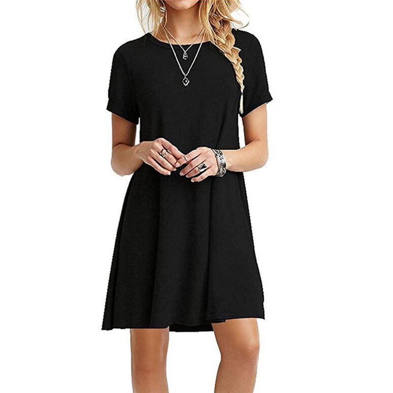 2019 New Fashion Women 's Dress Casual Round Neck Short Sleeves Loose Large Women Dress Belly Fit Casual Woman Estidos