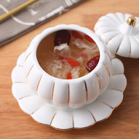European creative ceramic stew bowl with lid pot liner steamed soup size household bowl
