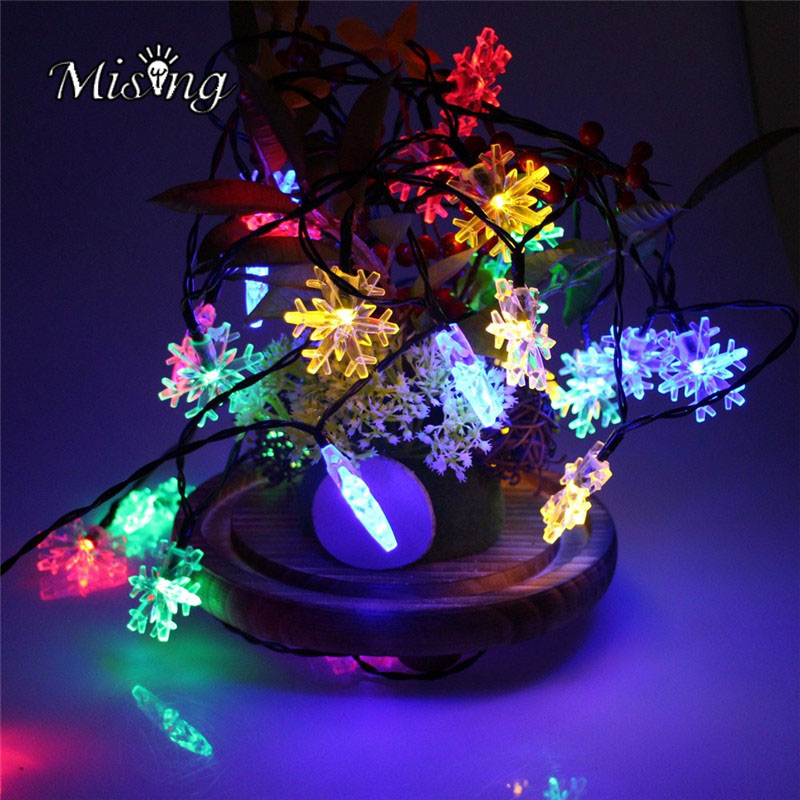 Mising 1M 10 LED 2*AA Battery Snowflake LED String Lights Outdoor Fairy Powered Lamp for Christmas Party Halloween Decorations