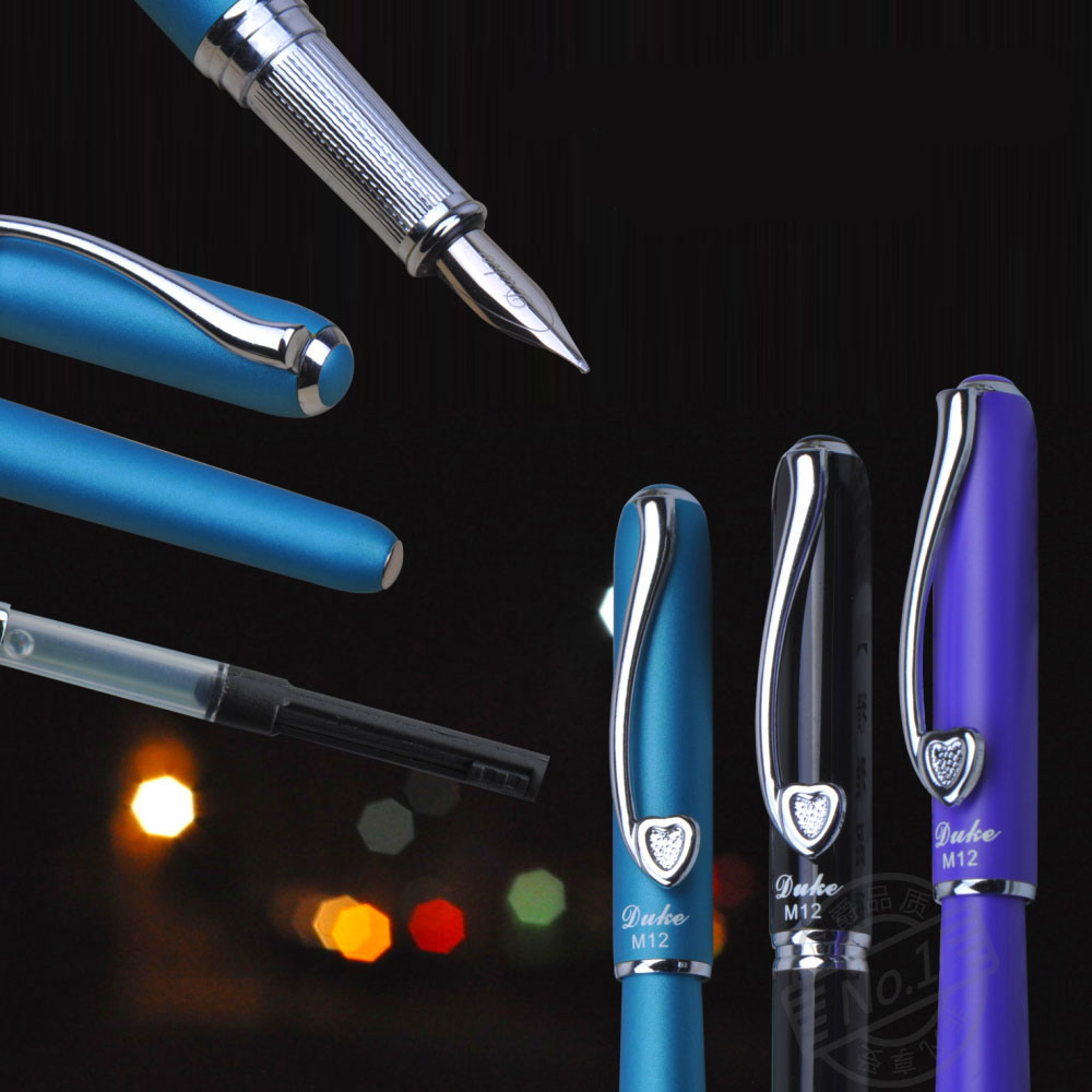 Promotion Stationery Duke M12 Black Sweet Heart Series M Nib Ink/Steel/Brand/Fountain Pen With Original Gift Box  Free Shipping fountain pen m nib original japan pilot 88g office and school stationery 2016 new the best gifts free shipping