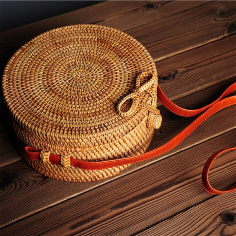 B0072 INS Bali bag Women Hand Woven Round Rattan Straw Bag Bohemian Beach Circle Bag Circular Handbag Crossbody Shoulder Bags цена