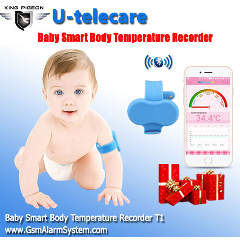 Bluetooth Smart Body Temperature Recorder Wristband for Baby Waterproof Digital Thermometer Monitoring & Alarm fever bluetooth intelligent baby thermometer wearable infrared smart monitor body temperature wristband