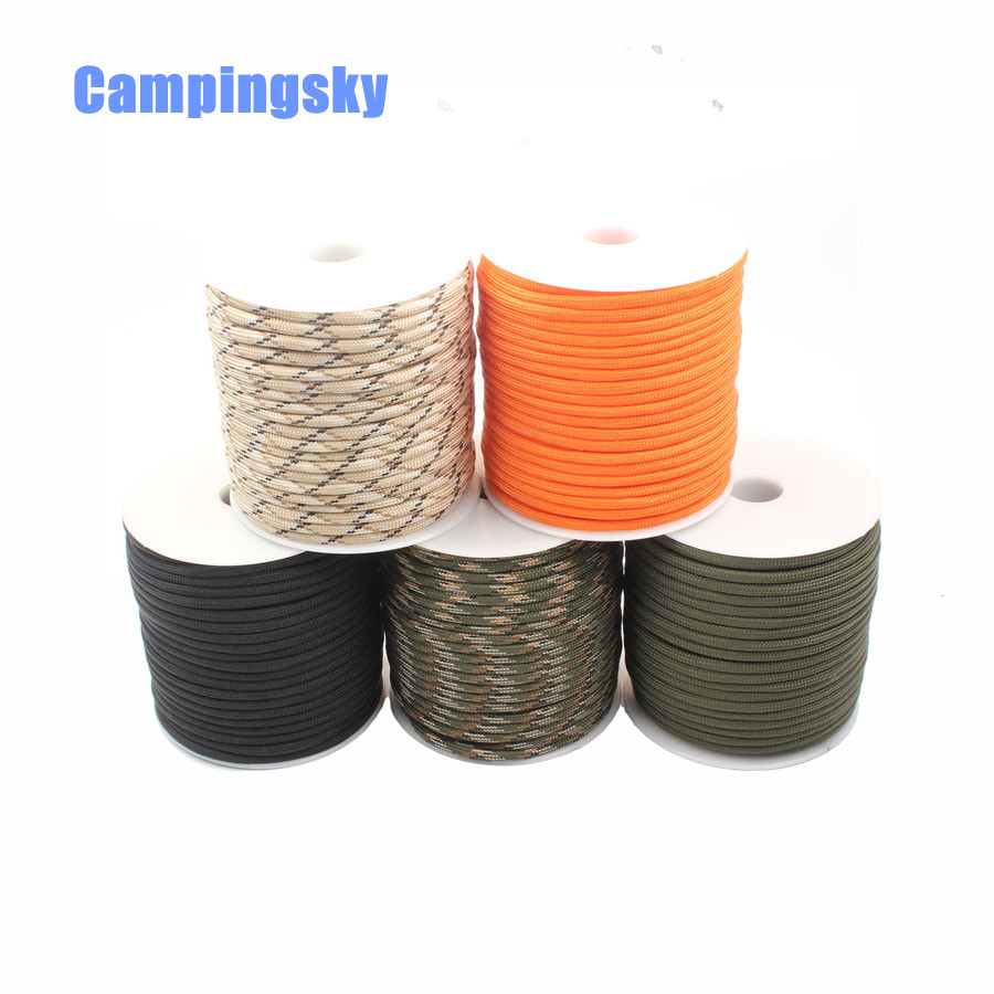 CAMPINGSKY 9 Strand 100FT 31M Mil Spec Type III paracord 550 4mm rope 100FT Paracord survival Parachute Cord