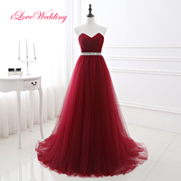 2017 Hot Sale Burgundy Prom Dress A line Tulle Wine Red Sweetheart Prom Gown Floor length Long Vestidos de fiesta Party Dresses