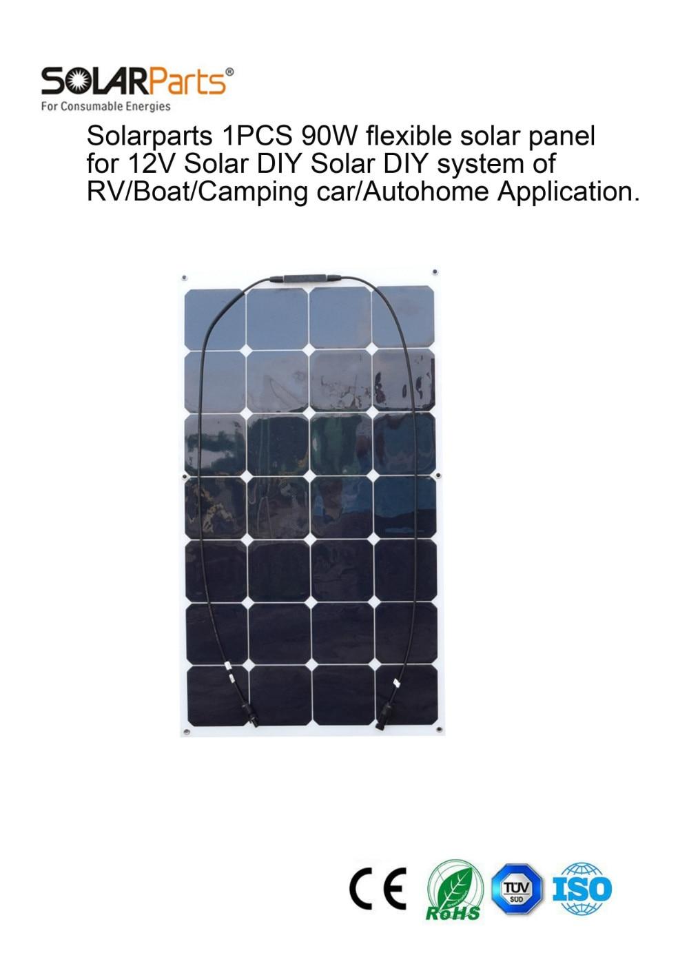 Solarparts 1PCS 90W flexible solar panel 12V cell module system kits yacht boat RV outdoor Sun