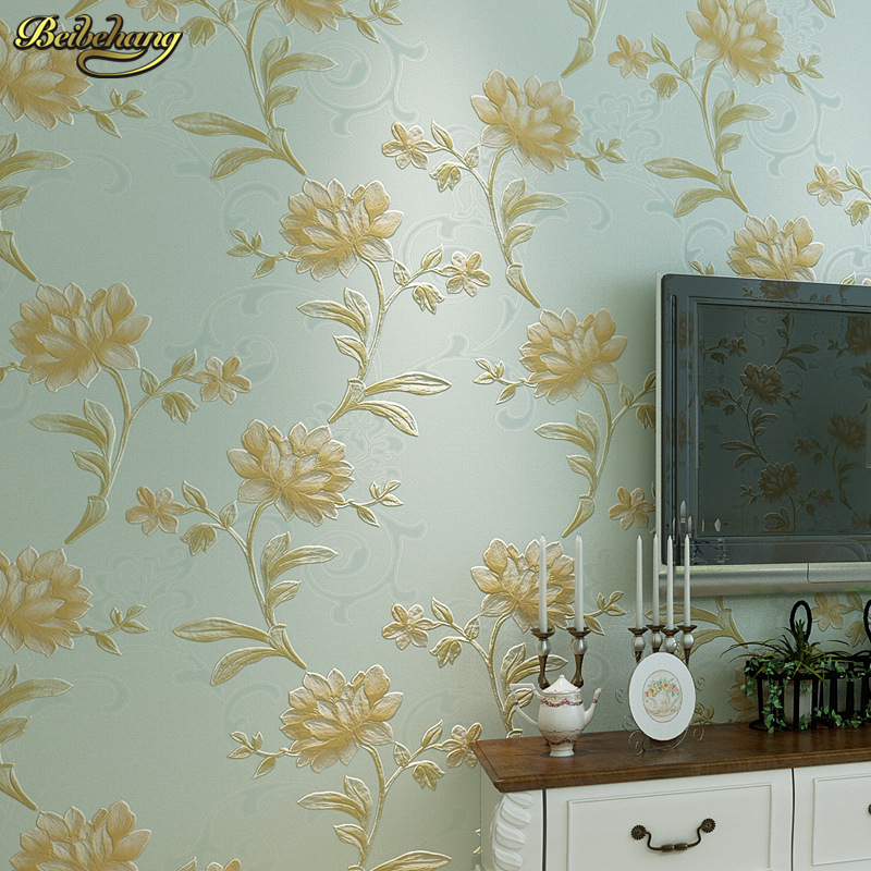 beibehang 3d fine pressure three - dimensional rural non - woven wallpaper warm bedroom living room full of sofa background
