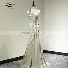 Вечерние шифоновые вечерние платья с узорчатым бантом, сексуальное элегантное вечернее платье русалки, длинное вечернее платье без рукавов, vestido de festa longo SL-E99