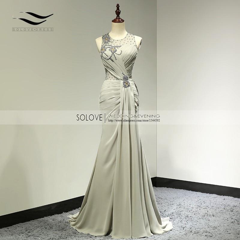 2015 Шифон қабатының ұзындығы Bow Sexy Elegant Mermaid кешкі көйлек 2018 Ұзын формальды кешкі көйлек SL-E99