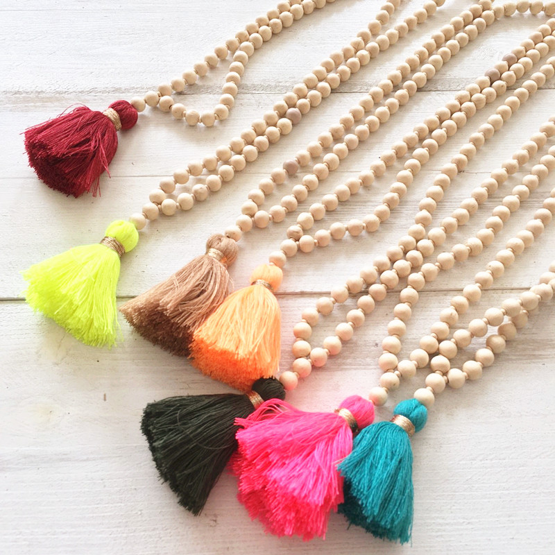 Dongmu Jewellery Long Necklace Handmade Fashion Trendy Beads Bohemia Style Wooden Bead Chains Necklace Strand