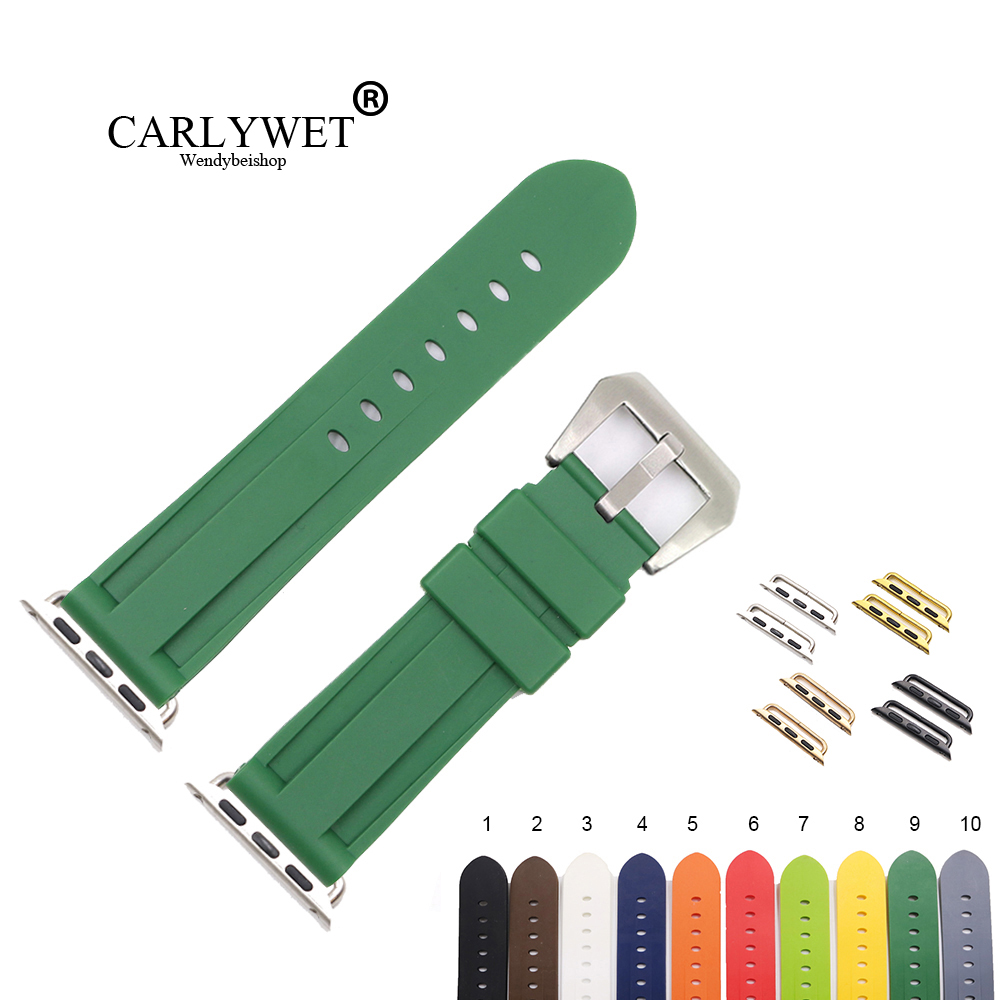 CARLYWET Fashion 38 40 42 44mm Green White Silicone Rubber Replacement Wrist Watchband Strap Loops For Iwatch Series 4/3/2/1