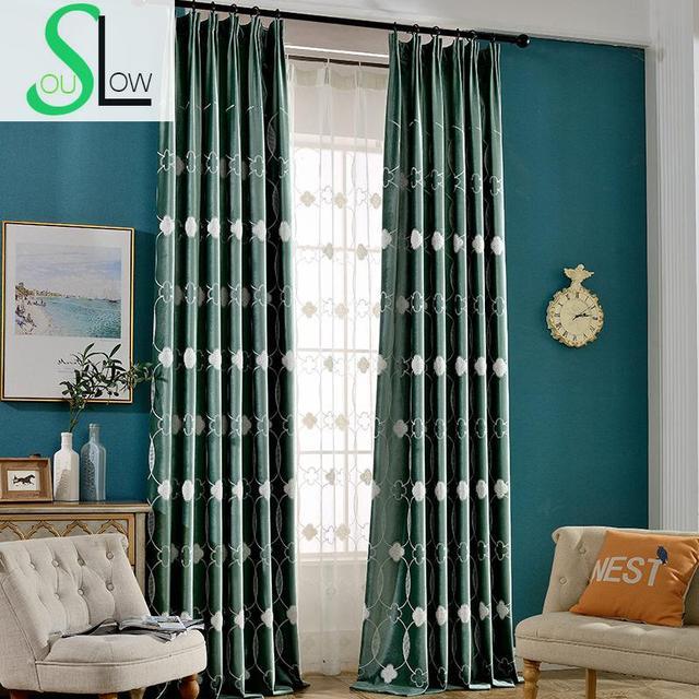 Slow Soul Lavender Mint Green Neck Flower Good Quality Velvet Floral Embroidered Curtains For Living Room