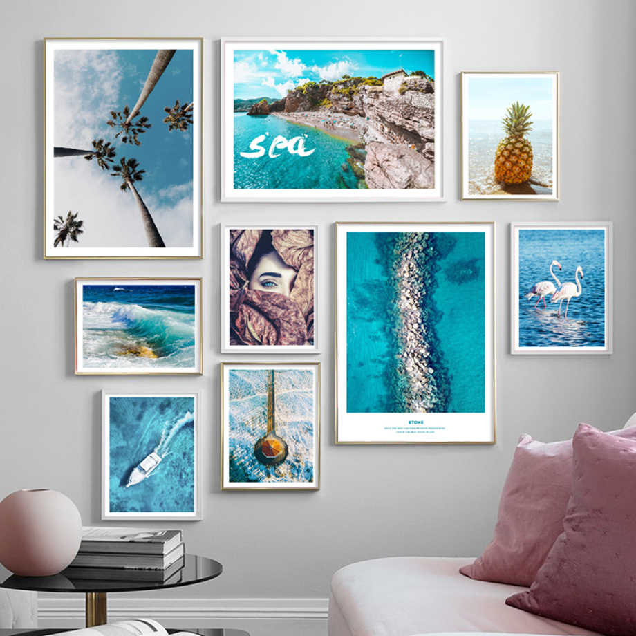 Sea Beach Coconut Tree Road Woman Landscape Nordic Posters And Prints Wall Art Canvas Painting Wall Pictures For Living Room