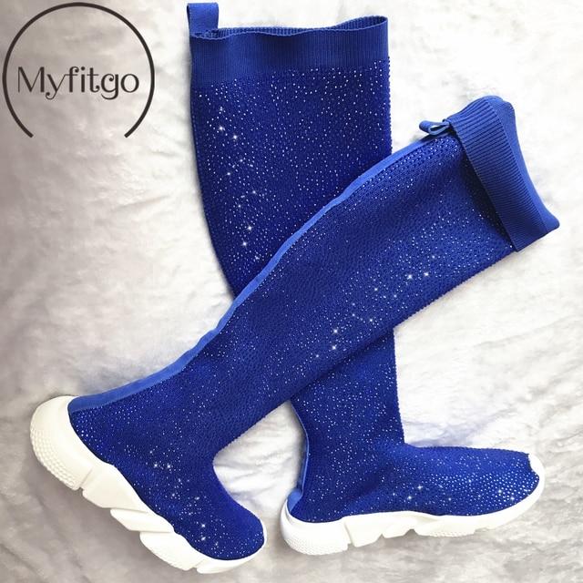 Myfitgo Kristal Örgü Çorap Uyluk Yüksek Çizmeler Kadın Düz Sonbahar Bahar Rhinestones Sneakers Kadın, Hava Örgü El Yapımı Çizmeler