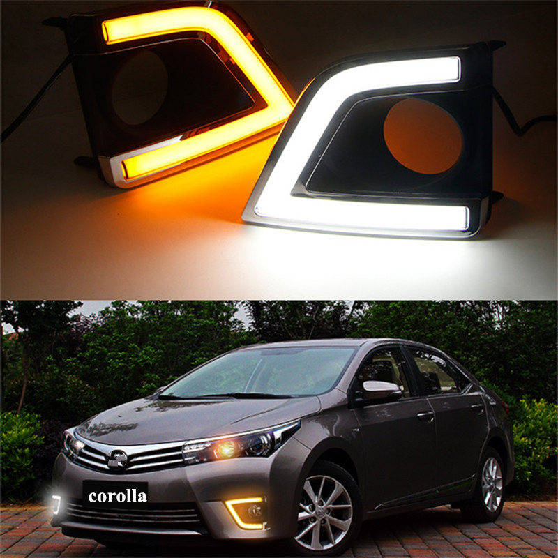 Hoping car styling led Daytime Running Light for Corolla 2014 2015 LED DRL  Fog Lamp Super Bright dual color white yellow qvvcev 2pcs new car led fog lamps 60w 9005 hb3 auto foglight drl headlight daytime running light lamp bulb pure white dc12v