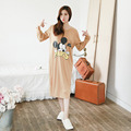 New Cotton Girl Sleepwear Autumn Nightwear Long-wleeve Sleepskirts Casual Nightgown Loose Skirt Plus size 2XL