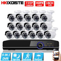 16CH CCTV System 16CH 1080P DVR 16PCS 1 0MP IR Weatherproof Outdoor CCTV Camera 2000TVL Home
