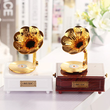 Classical Golden Retro phonograph big speaker Music Box plastic Music Box with drawers home Decoration CR-Z2111