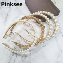 Baroque Women's Pearl Beads Hairband Headband Bridal Hair Accessories Hair Hoop Wedding Party tiaras head pieces(China)