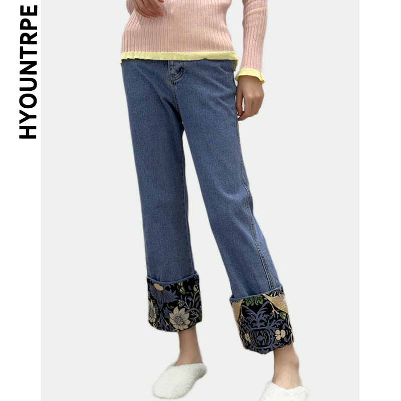 Floral Printed Patchwork Jeans Womens Straight Bottom Pants Streetwear Zipper Trousers Female 2019 New Spring Denim Jeans