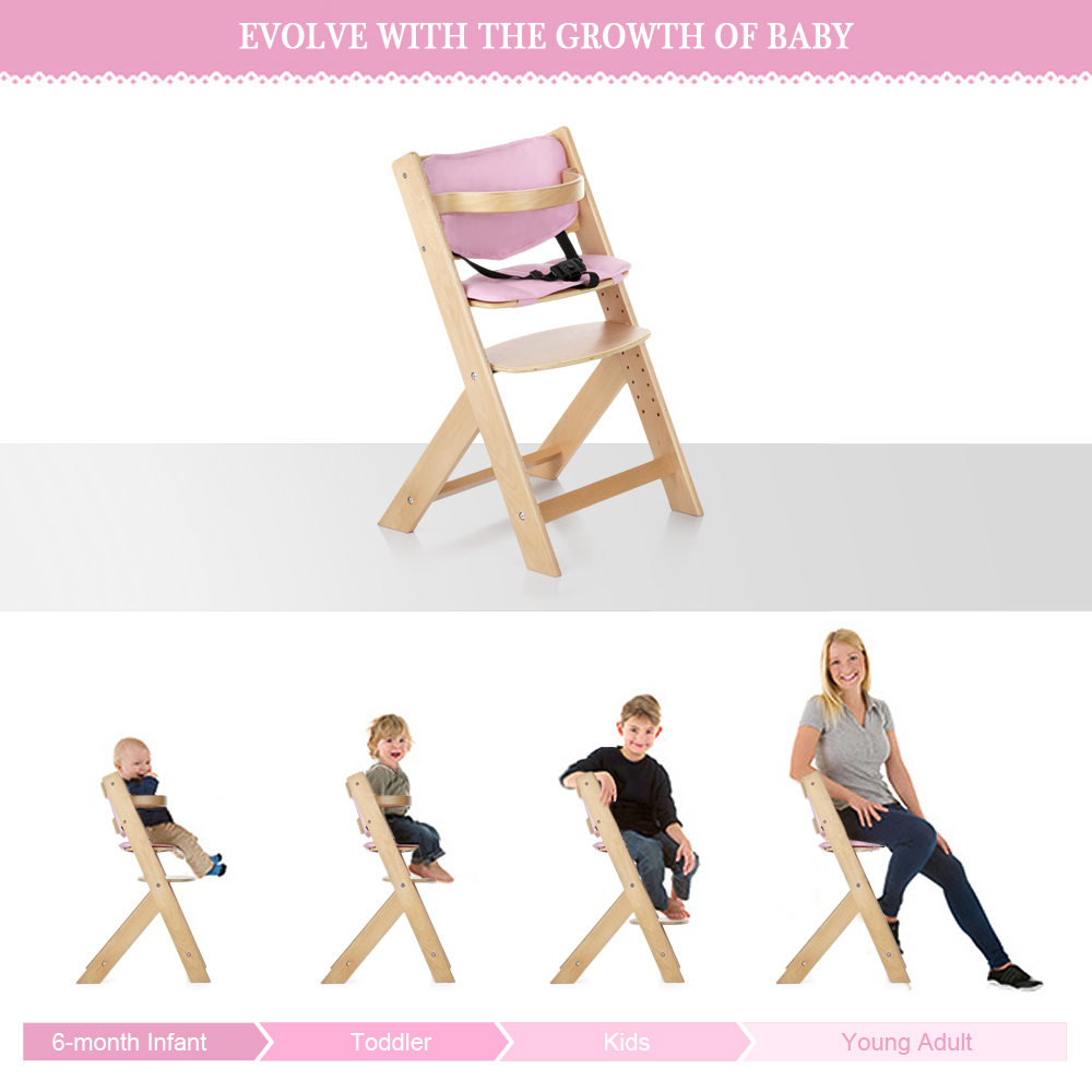 iKayaa US DE FR Stock Toddler Baby Wooden with Cushion Height Adjustable Beech Wood Highchairs for Kids Feeding Dining Chair