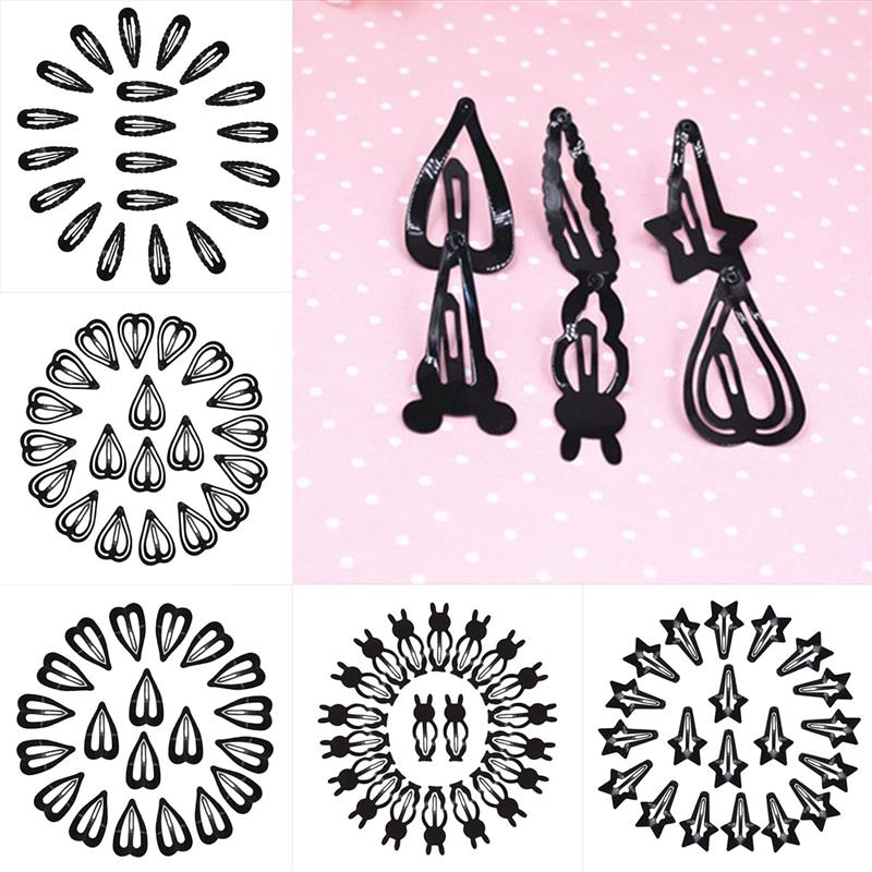 100 Pcs/lot Baby Hair Snap Clips accessories for women Black hairgrips Barrettes Head hairpins Jewelry Girls Hair Styling Sale
