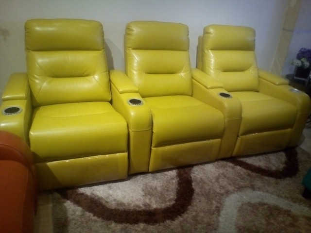Living Room Sofa Recliner Sofa, Genuine Leather Recliner Sofa, Cinema  Leather Recliner Sofa 1
