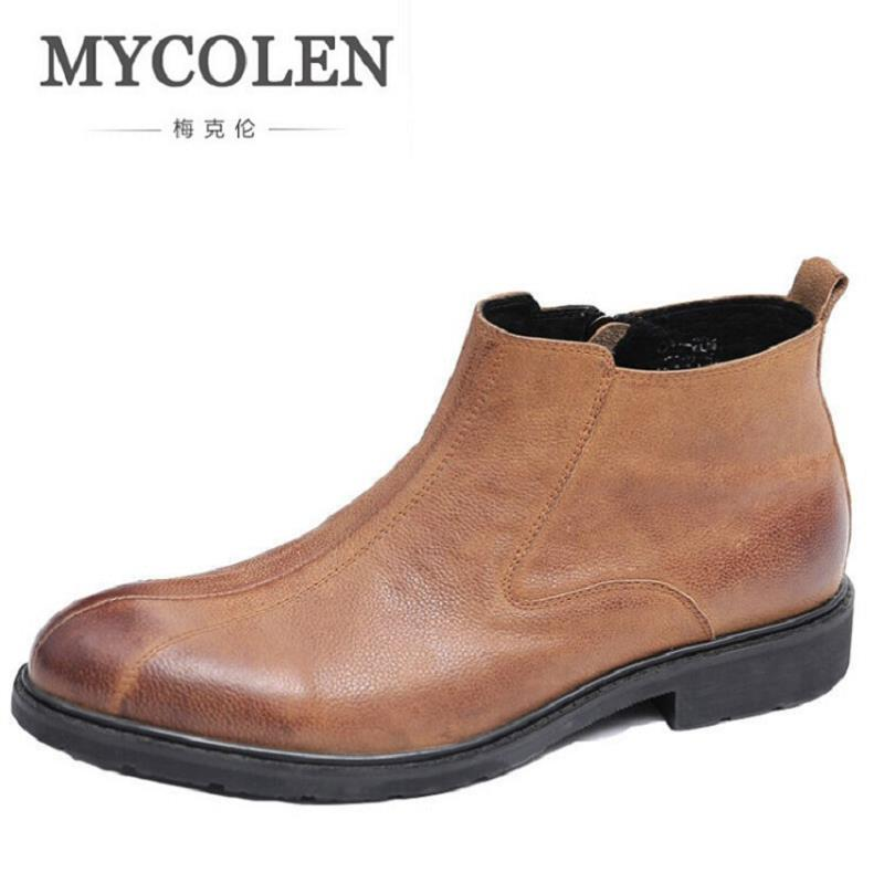 MYCOLEN Autumn Winter Men Luxury Boots Leather Casual Ankle Boots Height Increasing Rubber Zip Men Shoes Sapato Social Masculino autumn winter men high leather shoes casual boots 2017 new autumn winter men boots zipper leather shoes