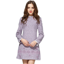 New Lace OL Business Dresses Work Wear A-line Lavender Slim Warm Winter Dress Plus Size Womens Clothing Lanon woolen Embroidery