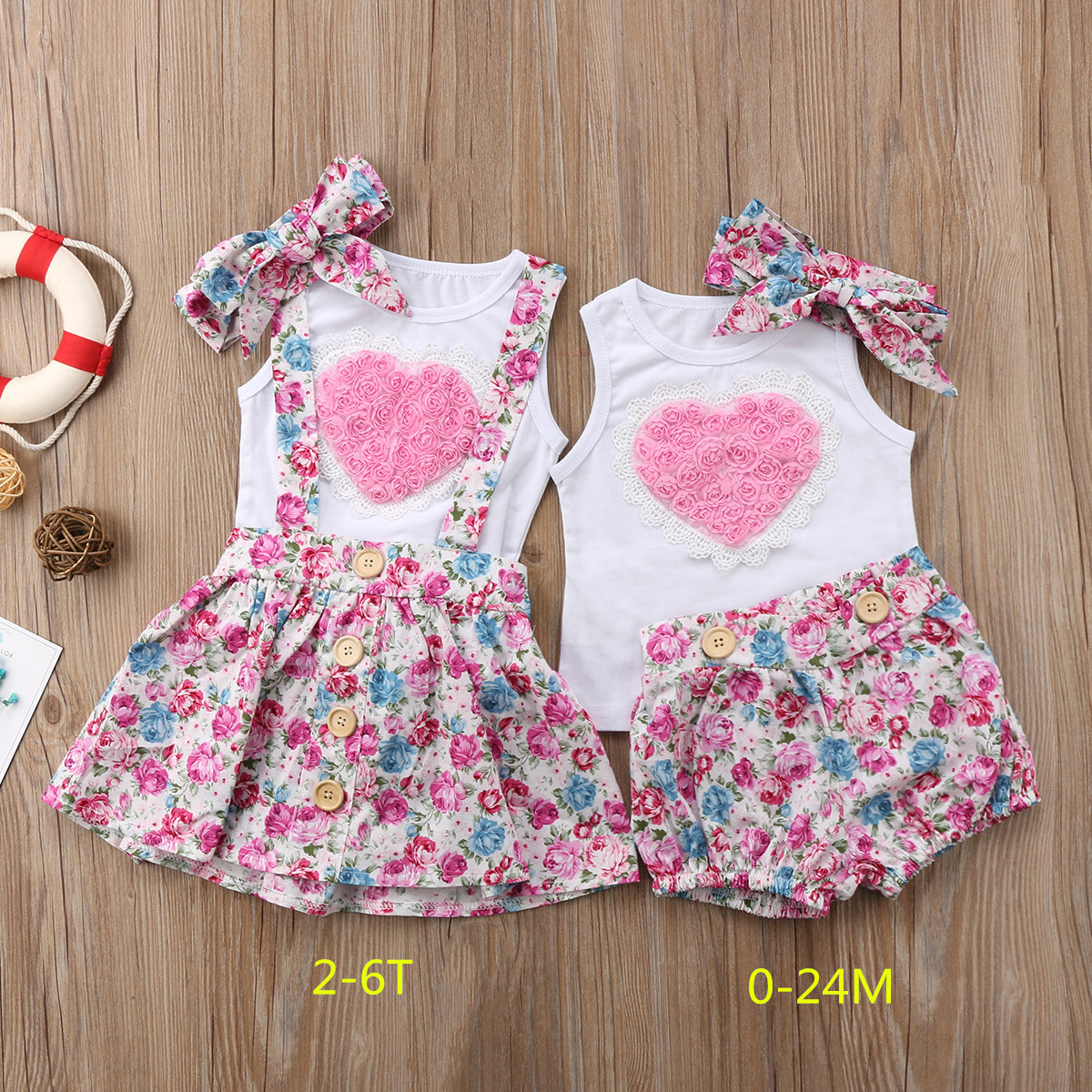 2018 Newborn Baby Girl Sister Matching Outfit Clothes