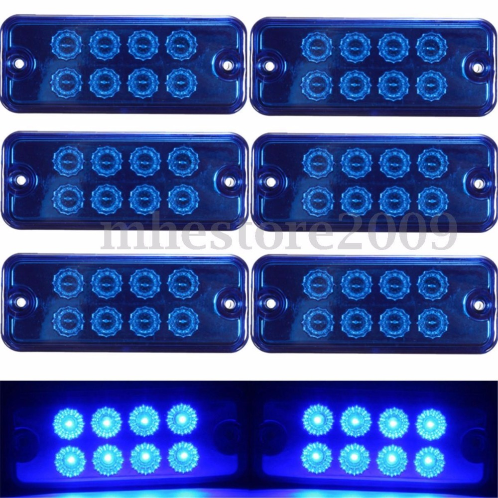 CYAN SOIL BAY 6X DC 12V 24V 8 LED Side Marker Light Lamp Truck Trailer Lorry Caravan Waterproof Blue cyan soil bay truck trailer side fender marker clearance light chrome bezel 3 led dc 10 30v red