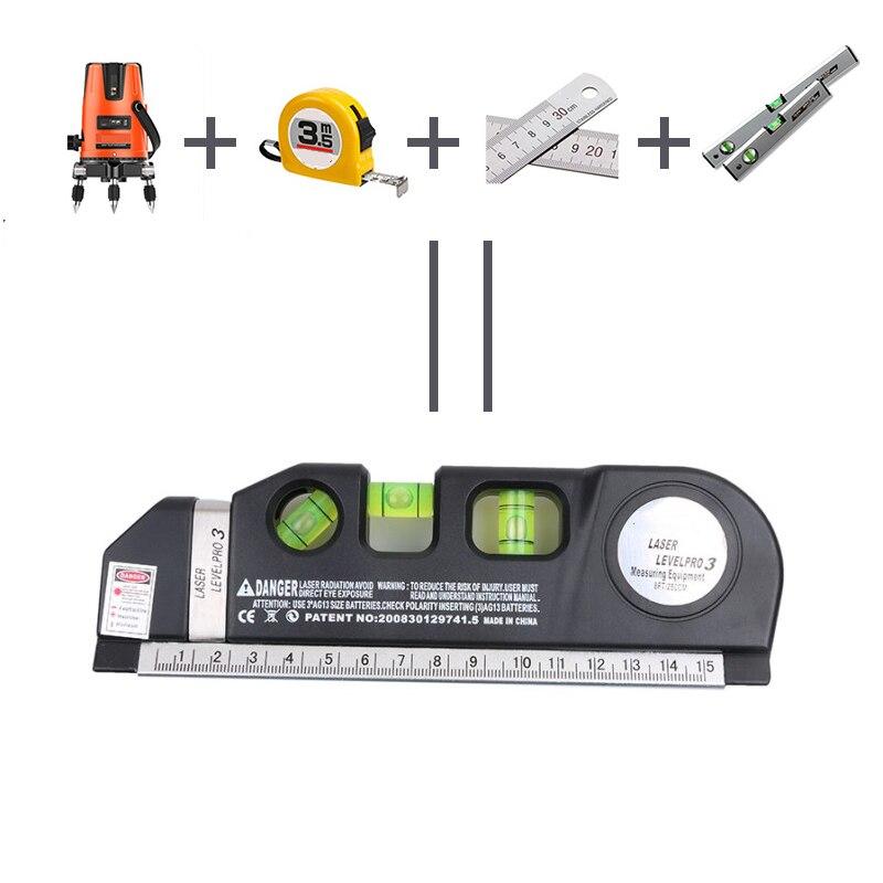 Лазерный уровень Горизонт Вертикальная мера 8 футов выравниватель стандартные и метрические линейки многоцелевой измерительный уровень Лазерный черный